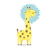 Cute spotted little giraffe smiles. Kavay baby giraffe reaches for the sun. Above all, above the stars. Savannah, Africa. Flat hand drawn illustration kid's poster. Cartoon animal character set.