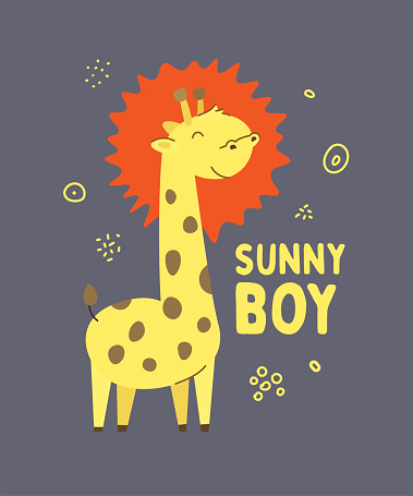 Cute spotted little giraffe smiling. Text Sunny boy. Animal kingdom set. Super-kawaii and adorable animals. Cartoon character and lettering. Flat illustration for kid's poster, t-shirt and other art.