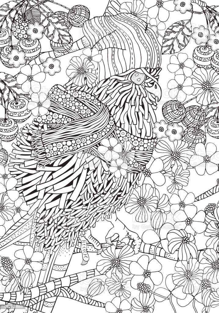 かわいい春鳥の塗り絵a4 サイズ いたずら書きのベクターアート素材や