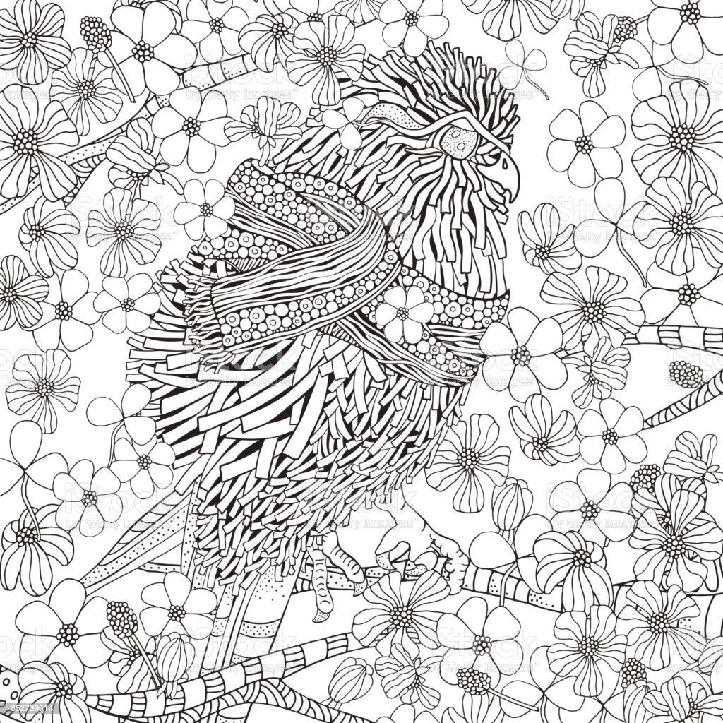 かわいい春鳥の塗り絵 いたずら書きのベクターアート素材や画像を多数