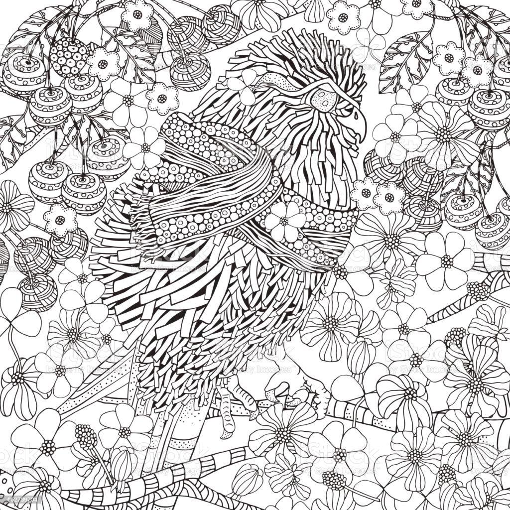 Livre De Coloriage Oiseau Printemps Mignon Vecteurs Libres