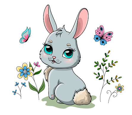 Cute spring bunny in garden with flowers