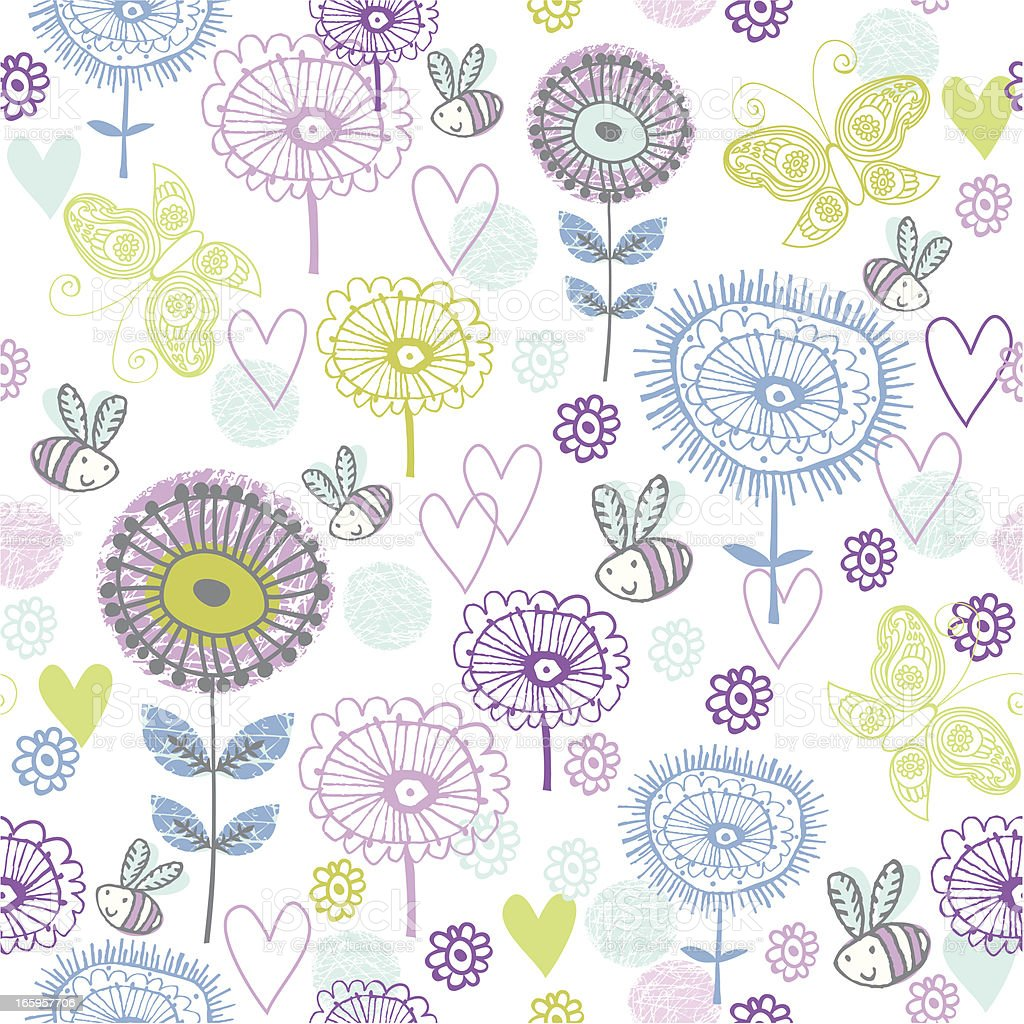 Cute spring flower pattern Seamless pattern already in the swatches palette for you to use as a fun background at any scale. Elements all left whole for you to use individually too. Animal Markings stock vector