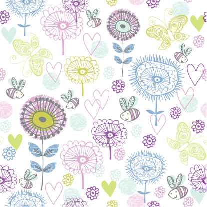 Cute Spring Flower Pattern Stock Illustration - Download Image Now