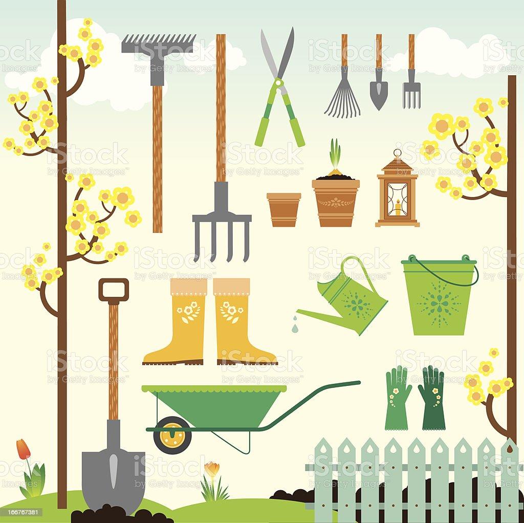 Cute spring gardening set vector art illustration