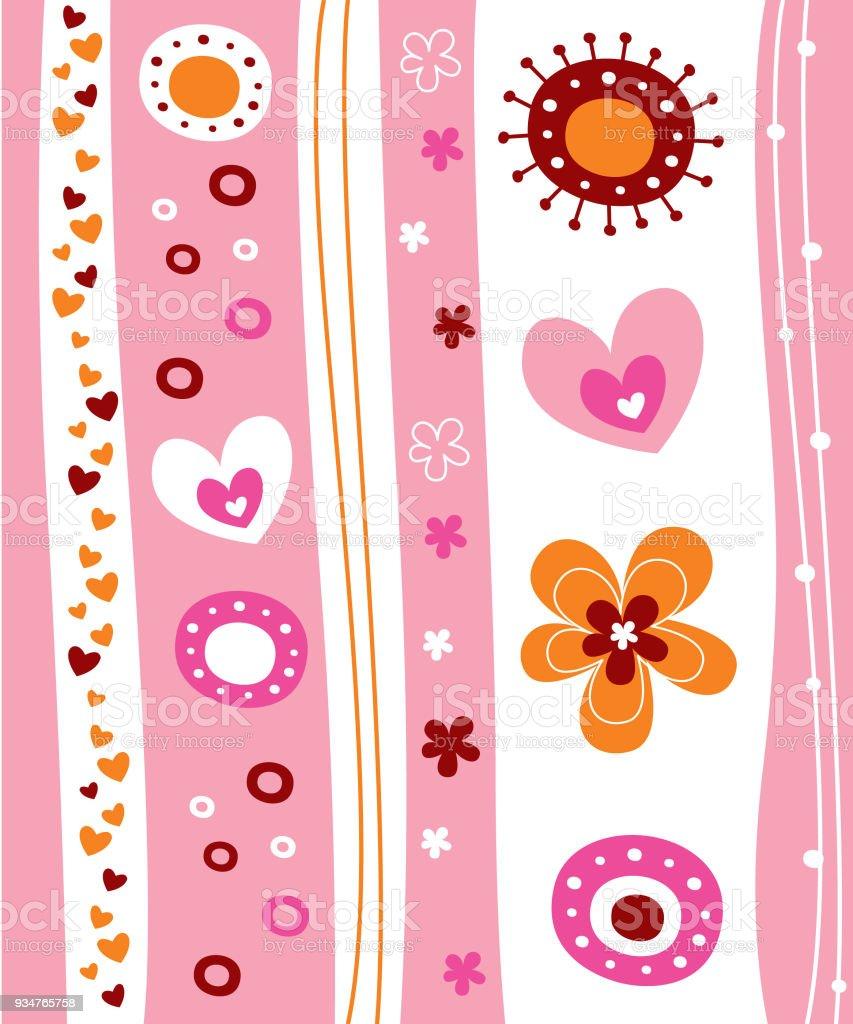 かわいい春パターン壁紙 いたずら書きのベクターアート素材や画像を