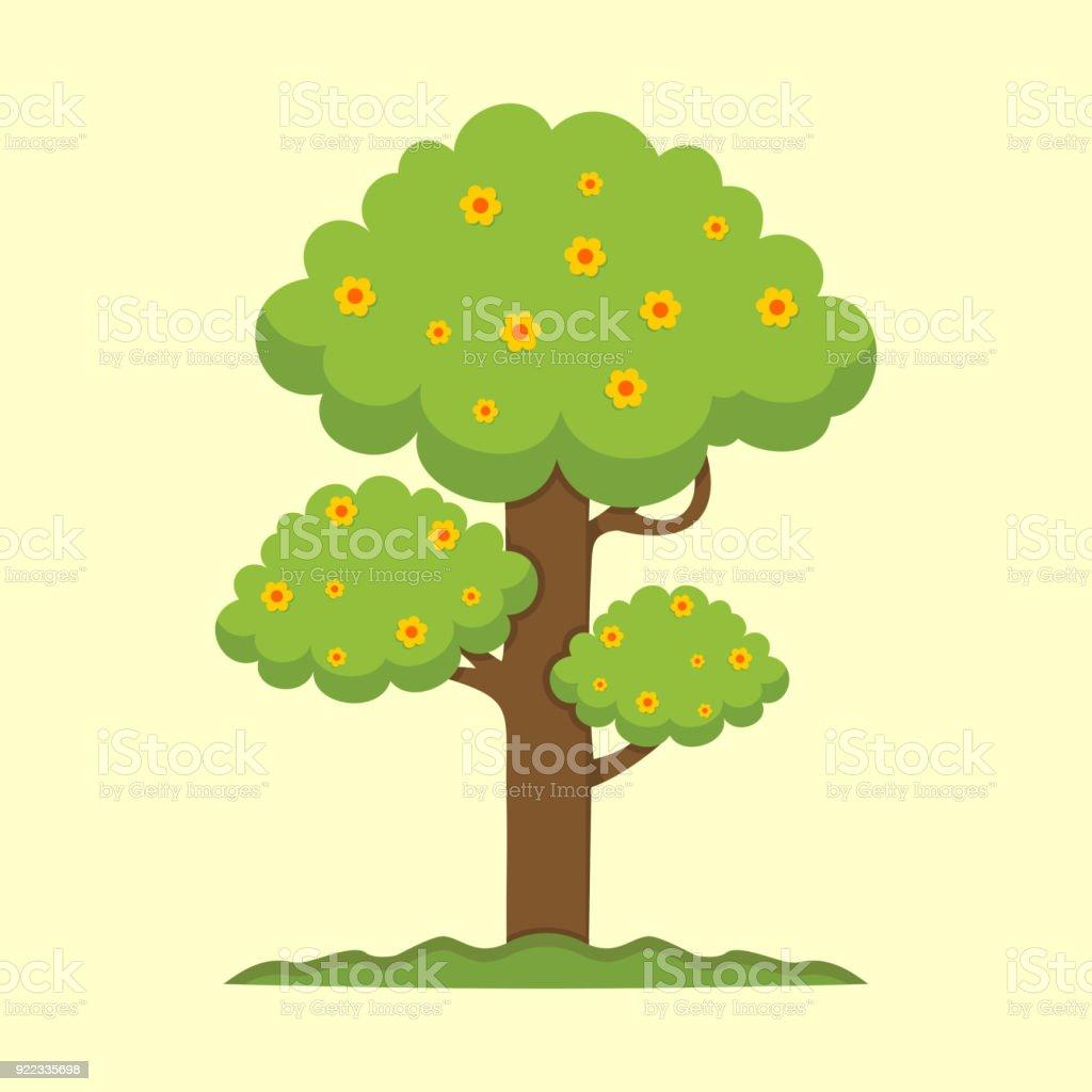 かわいい春シーズンの木イラスト画像 アイコンのベクターアート素材や