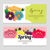 cute spring theme banner with flower foliage flat style