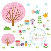 spring, village, floral, nature, birds