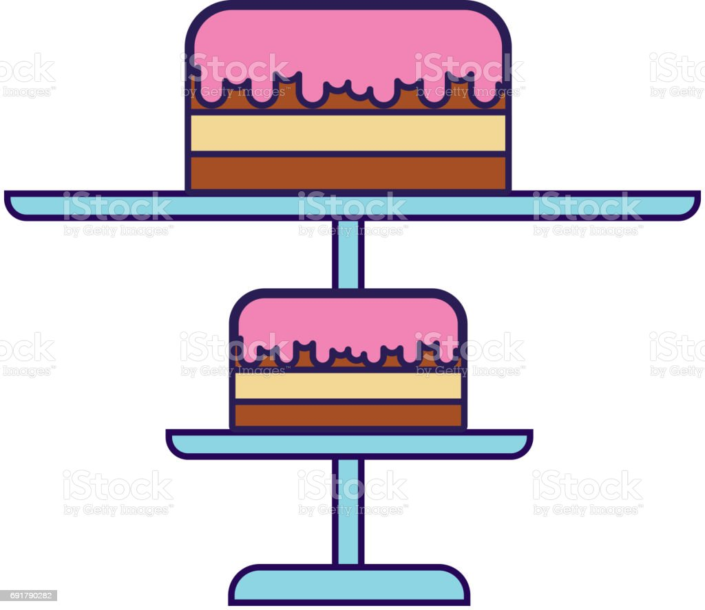 Cute Stand Birthday Cake Cartoon stock vector art 691790282 iStock