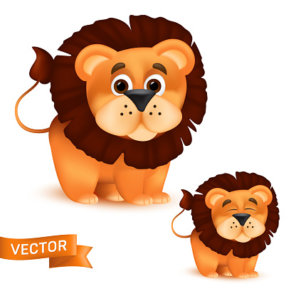 Cute standing and smiling cartoon baby lion character. Vector illustration of an african wildlife mascot newborn animal isolated on white background