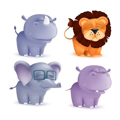 Cute standing and squinting cartoon baby characters set - rhino, lion, elephant, hippo. Vector illustration of an African wildlife mascot newborn animals isolated on white background