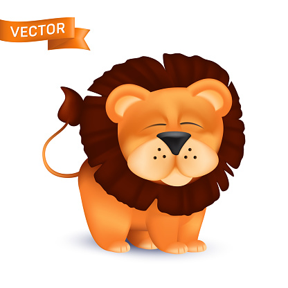 Cute standing and squinting cartoon baby lion character. Vector illustration of an african wildlife mascot newborn animal isolated on white background