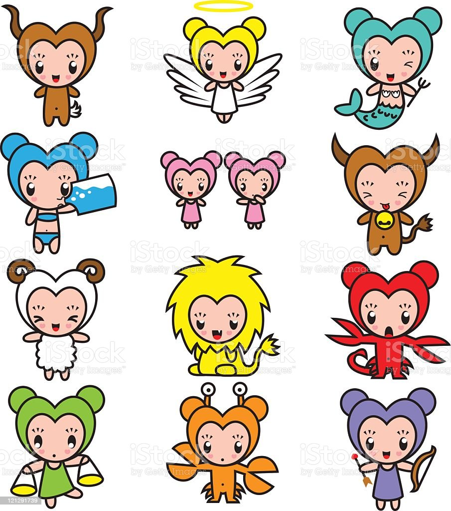 Cute Star Sign Characters royalty-free cute star sign characters stock vector art & more images of angel