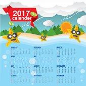 Cute Starfish 2017 Calendar Starts Sunday Vector Illustration.