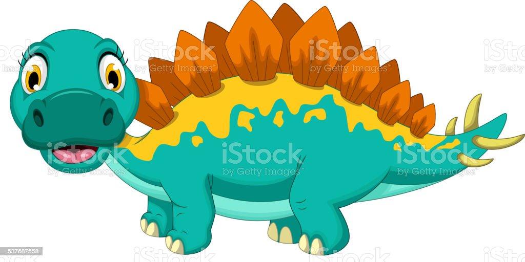 cute stegosaurus cartoon posing vector art illustration
