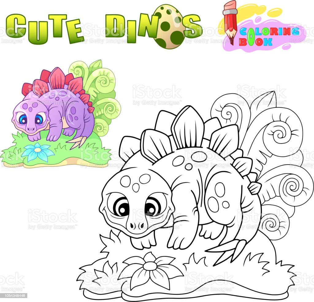 Stegosaurus Mignon Drole Illustration Cahier De Coloriage Vecteurs