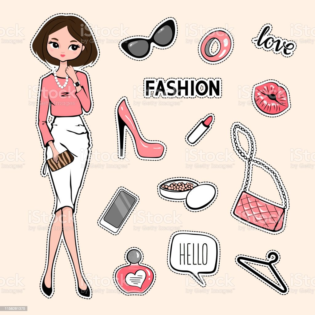 12d1689e Fashion accessories patches set. Design kit of various accessory stickers