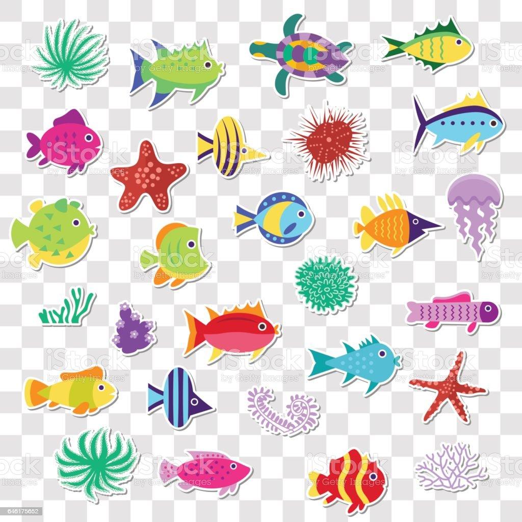 Lindas pegatinas de peces marinos del mar animales plantas for Pegatinas de peces