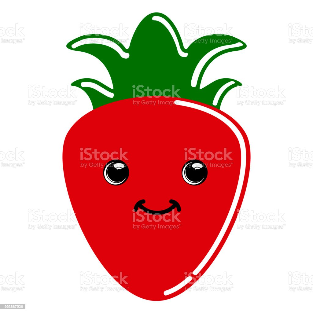 Cute strawberry emoticon - Royalty-free Cartoon stock vector