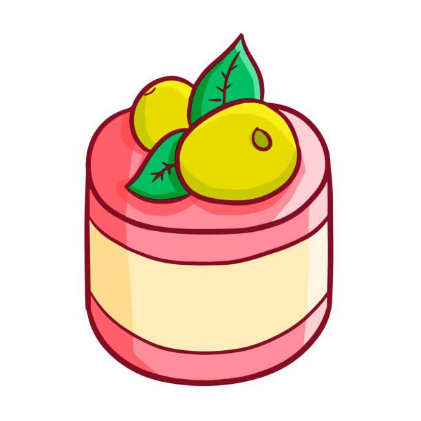 illustrations, cliparts, dessins animés et icônes de pouding aux fraises mignon - pudding au lait roses