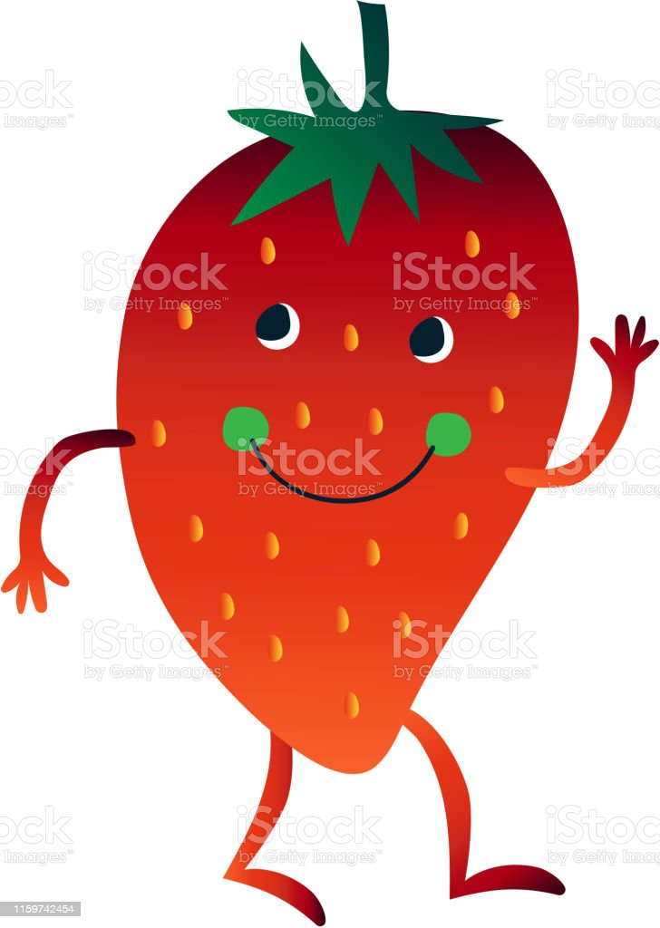 かわいいイチゴはその手を振って面白い顔ベクトルイラストと陽気な面白いベリー漫画のキャラクター みずみずしいのベクターアート素材や画像を多数ご用意 Istock