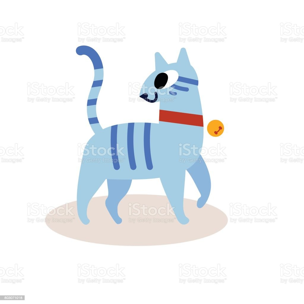 Cute striped blue cartoon cat isolated on white background in a red collar with a bell simple modern flat style vector illustration illustration