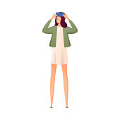 Cute student girl in white dress and green jacket make selfie. Flat style. Vector illustration on white background