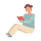 Cute student girl in white pants stay on floor and reading university book. Flat style. Vector illustration on white background