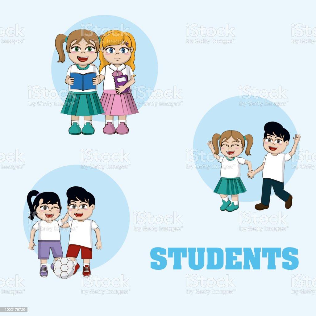 Ilustración De Dibujos Animados Lindo Estudiantes Y Más Vectores