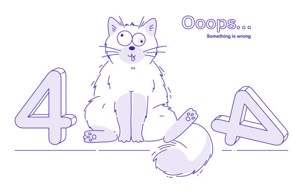 Cute Stupid cat say about Error 404. Ooops. Vector Illustration – artystyczna grafika wektorowa