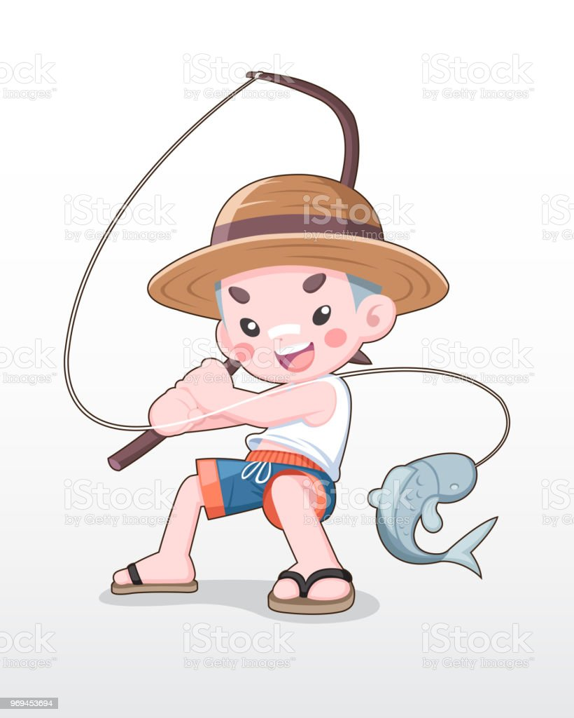 Cute style japanese boy fishing illustration royalty free cute style japanese boy fishing illustration stock