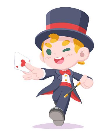 Cute style magician cartoon illustration
