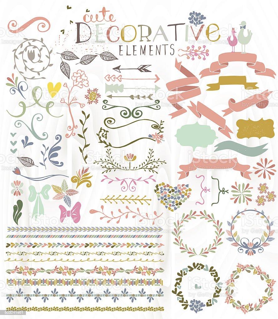 Cute stylish decorative elements vector art illustration
