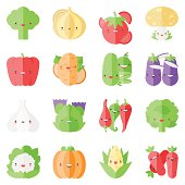 Cute stylish vegetables flat icons