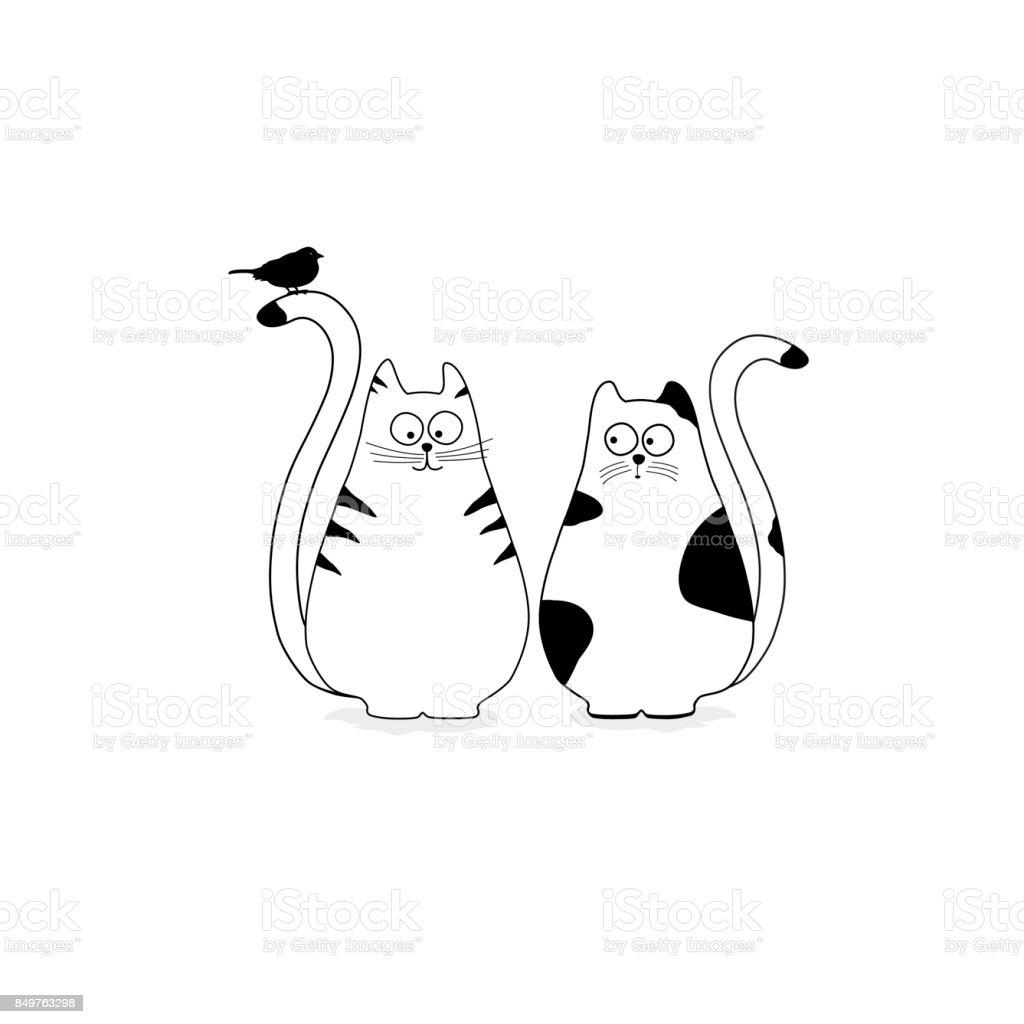Cute stylized cats with bird векторная иллюстрация