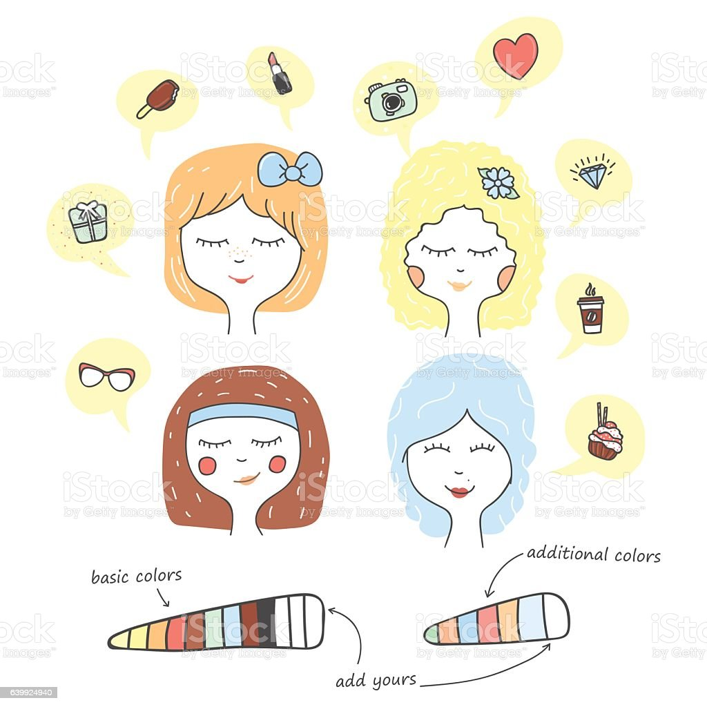 cute stylized portrait cartoon character teenager dreaming