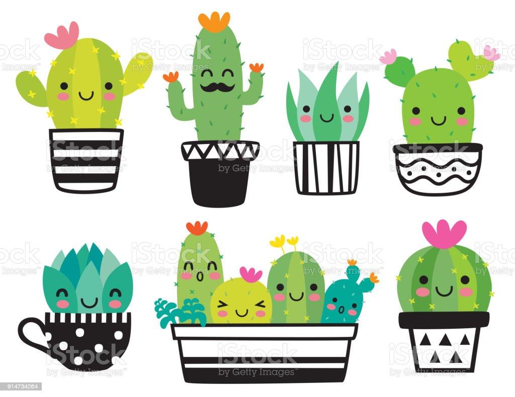 Cute Succulent or Cactus Vector Illustration vector art illustration