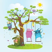 Colorful happy childish monsters creatures and owl frienship. Vector illustration.