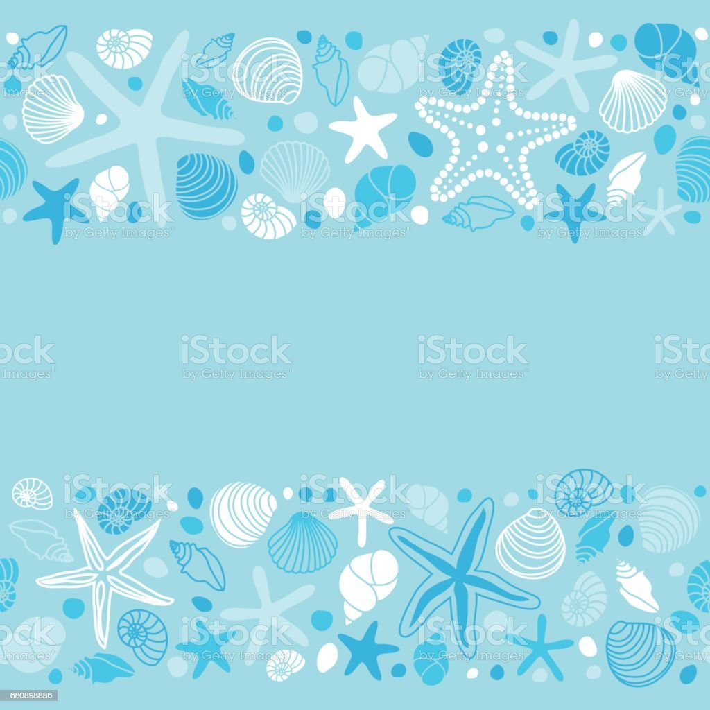 Cute summer background with different shells and starfishes as seamless borders royalty-free cute summer background with different shells and starfishes as seamless borders stock vector art & more images of abstract