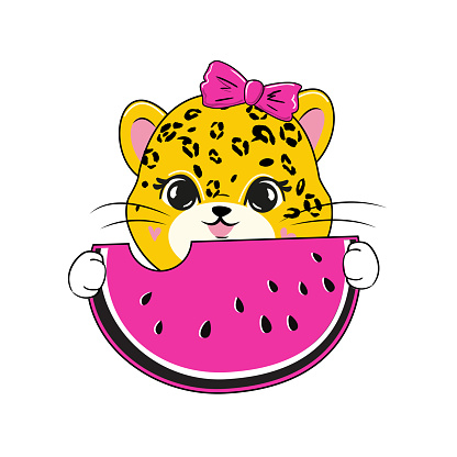 Cute summer cartoon leopard eating watermelon on white background isolated. Vector illustration for children