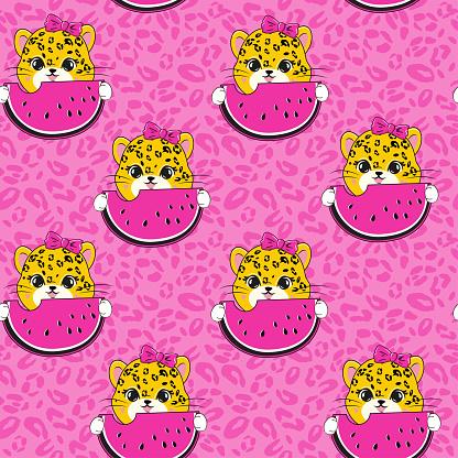 Cute summer cartoon leopard eating watermelon seamless pattern on a pink background. Vector illustration for children t-shirt
