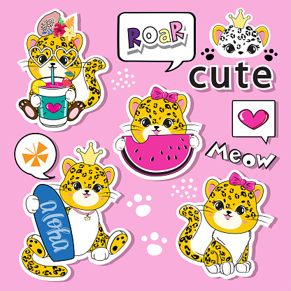 Cute summer cartoon leopards on a pink background. Fashion patch badges stickers. Vector illustration for kids t-shirt
