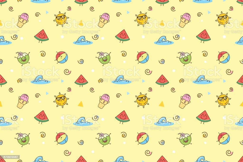 Cute Summer Cartoon Wallpaper Pattern Royalty Free Cute Summer Cartoon  Wallpaper Pattern Stock Vector Art
