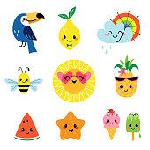 Cute summer characters set