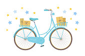 istock Cute summer city bicycle. Vintage mint bicycle with post parcels isolated on white background with stars. Sweet cartoon flat style design vector illustration. Urban feminine ride frame. 1330189599