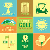 Vector illustration of summer golf tournament label set design template. Green, cheerful orange colors.  Includes sample text design elements and golf green, golf course and golf cart, club house, tee off time, score card, schedule, sun and flag labels. Perfect for golf outing, tournament, golf course advertisement poster and charity sporting event. See my portfolio for other invitations and golf concepts.