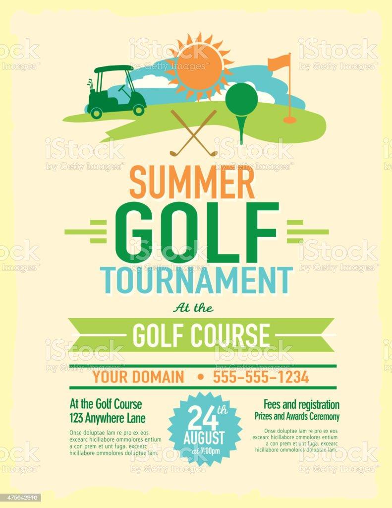 Cute Summer Golf Tournament With Golf Cart Invitation Design ...