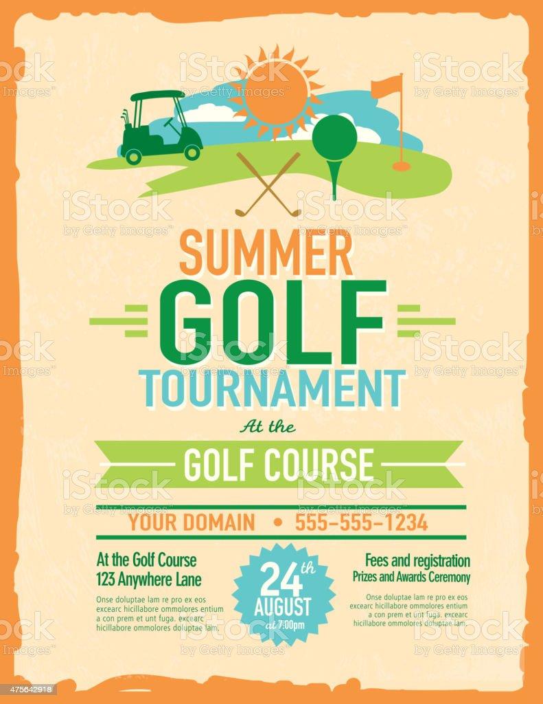 cute summer golf tournament with golf cart invitation design