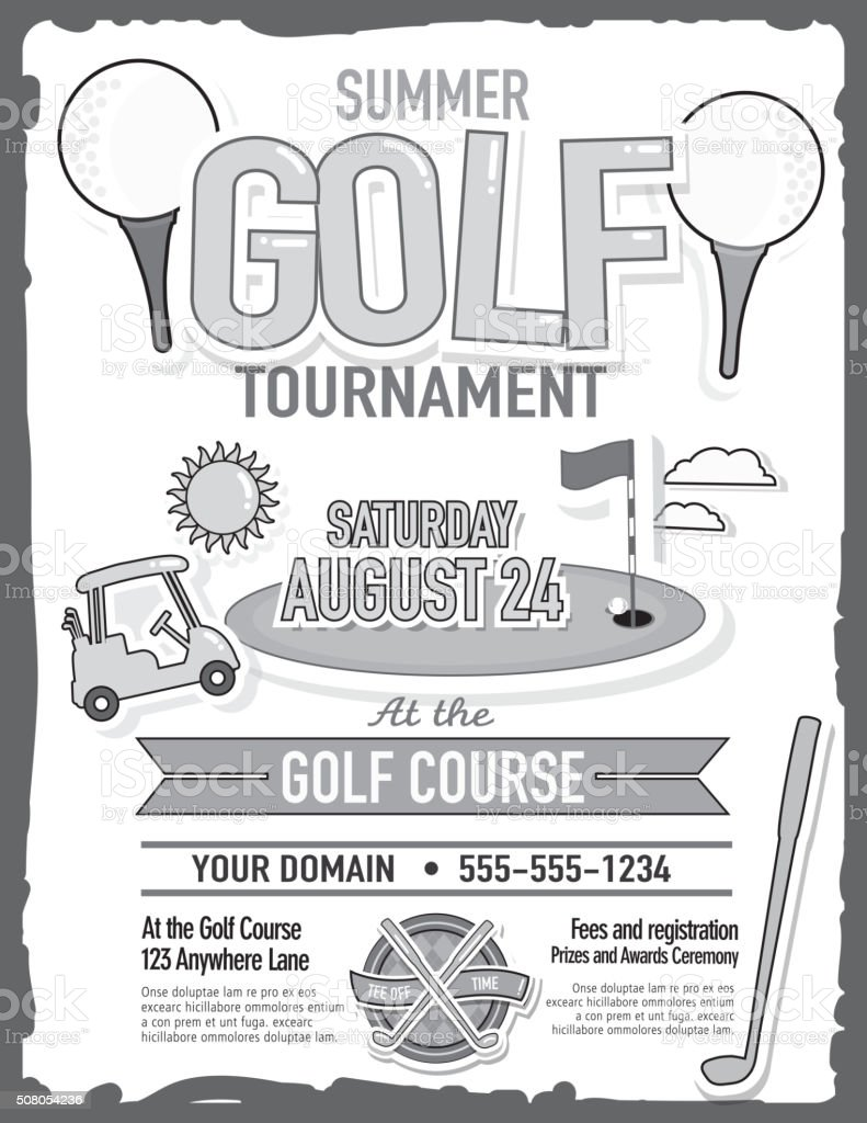 cute summer golf tournament with golf cart invitation design